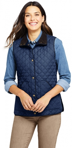 Lands' End Women's Insulated Quilted Barn Vest - Lands' End - Blue - XS Top