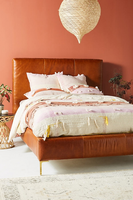Anthropologie All Roads Woven Baja Duvet Cover - Pink, Size Q /bed Top