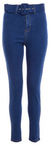 Quiz Blue High Waisted Belted Skinny Jeans