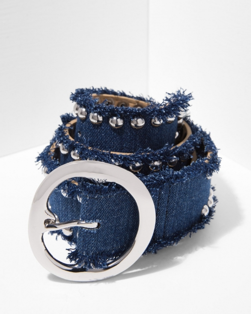 7 For All Mankind Women's B-Low The Nina Denim And Silver Belt