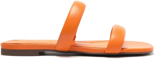 Schutz Shoes Ully Leather Flat Sandal - 5 Bright Tangerine Leather Sandals