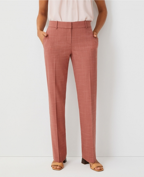 Ann Taylor The Petite Straight Pant Crosshatch - Curvy Fit Trouser