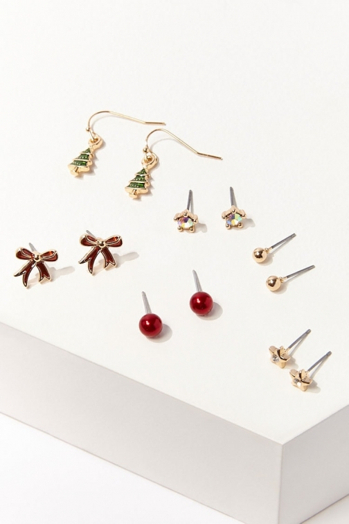 Forever21 Forever 21 Holiday Earring Set , Gold/red Jewellery