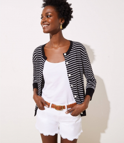 Loft Striped 3/4 Sleeve Signature Cardigan