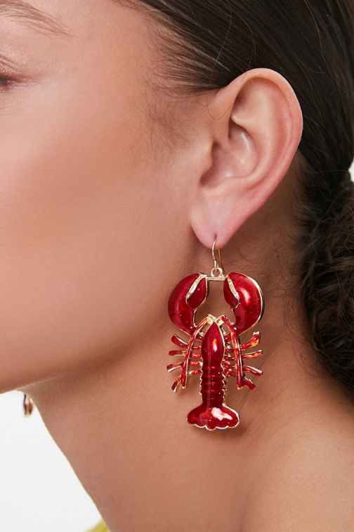 Forever21 Forever 21 Resin Lobster Drop , Red/gold Earring