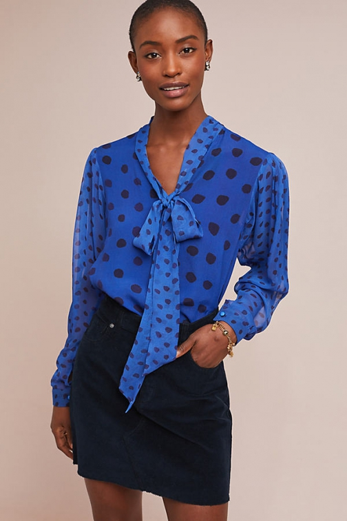 Bl-nk Beckie Spot-Print Pussybow Blouse