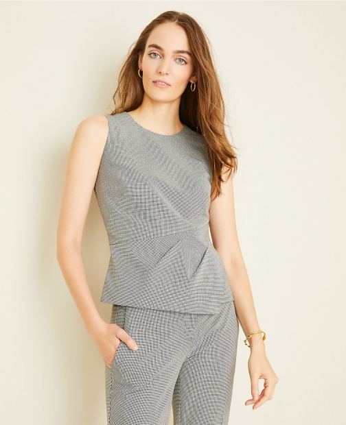 Ann Taylor The Petite Draped Top Houndstooth Suit
