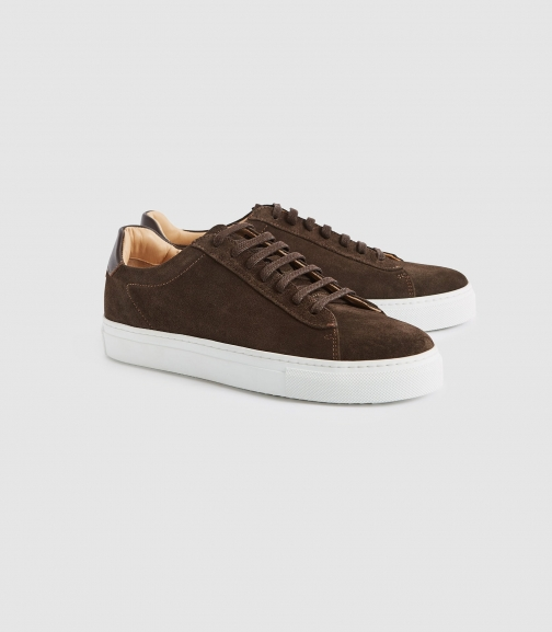 Reiss Finley Suede - Suede Contrast Sole Chocolate, Womens, Size 4 Trainer