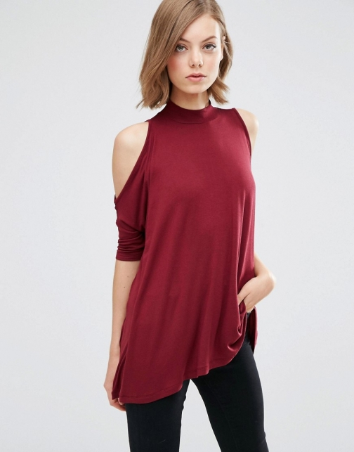 Asos With Cold Shoulder And High Neck Top