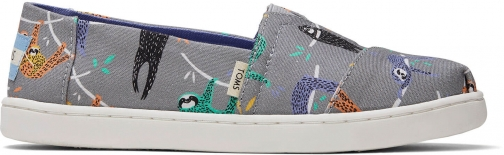 Toms Sloth Canvas Youth Classics Slip-On Shoes