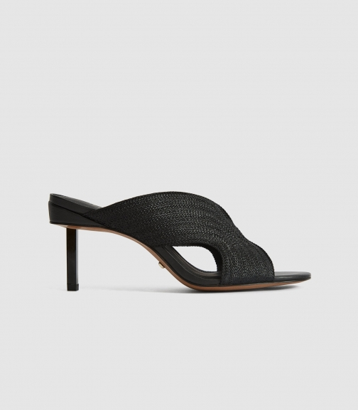 Reiss Cassandra - Braid Front Heeled Mules Black, Womens, Size 4 Shoes