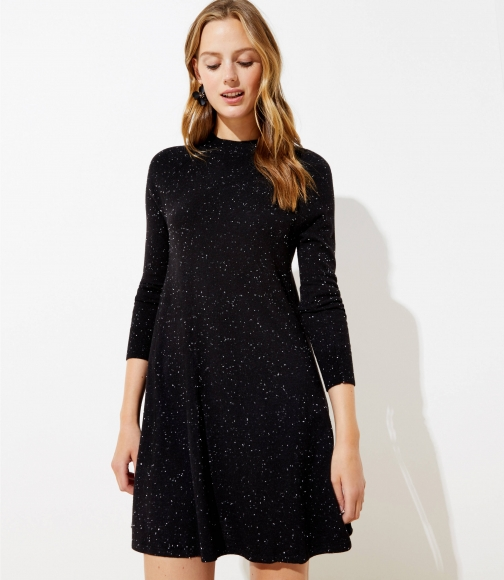 Loft Flecked Mock Neck Swing Sweater Dress