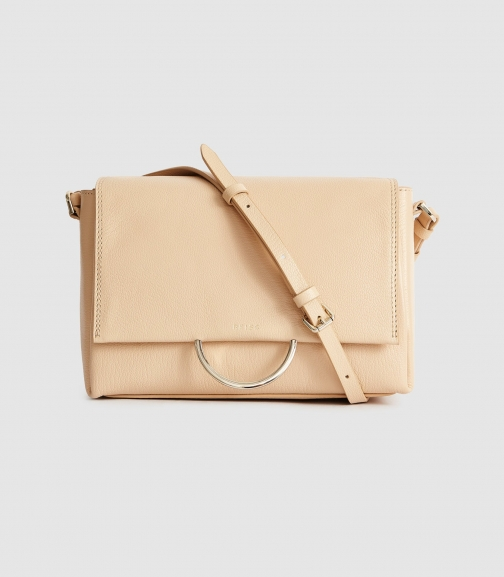 Reiss Sherway - Leather Cross Body Bag Taupe, Womens Crossbody Bag