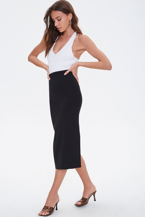 Forever21 Forever 21 Calf-Length , Black Pencil Skirt
