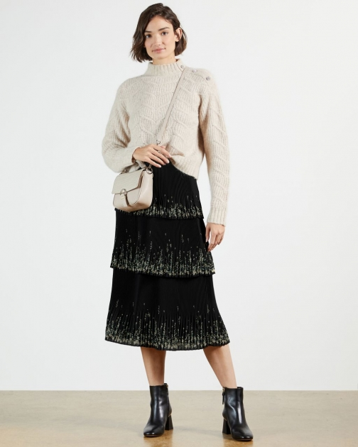 Ted Baker Papyrus Tiered Pleated Midi Skirt