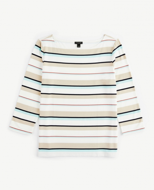 Ann Taylor Striped Boatneck Tee T-Shirt