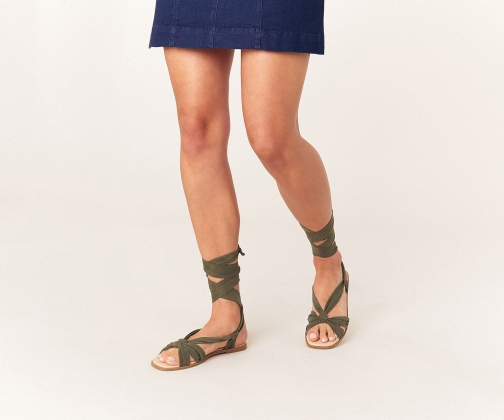 Oasis Ankle Tie Flat Sandals
