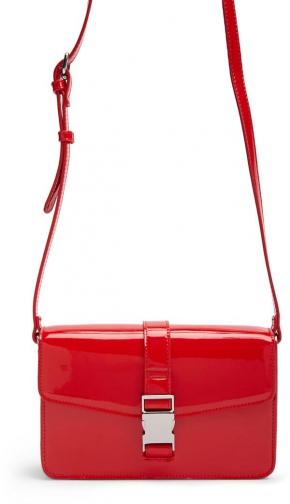 Forever21 Forever 21 Faux Patent Leather Square , Red Crossbody Bag