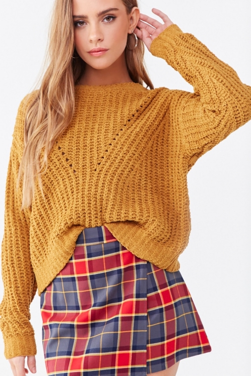 Forever21 Forever 21 Fuzzy Ribbed Sweater , Camel Sweatshirt