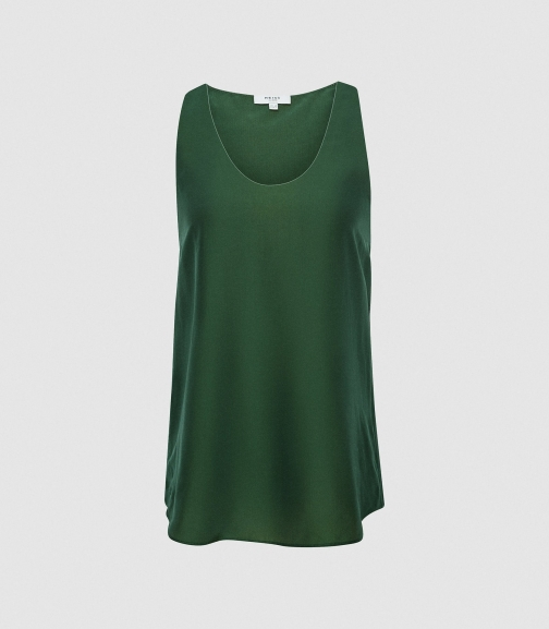 Reiss Avah - Silk Blend Racerback Green, Womens, Size 4 Top