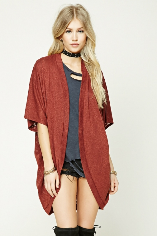 Forever21 Forever 21 Dolman-Sleeve Cocoon , Rust Cardigan