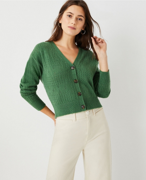 Ann Taylor Petite Pointelle Striped Cardigan