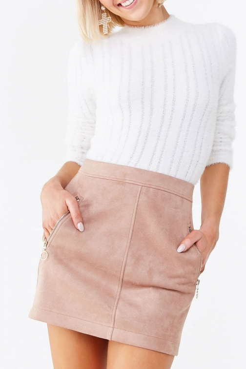 Forever21 Forever 21 Faux Suede , Taupe Mini Skirt