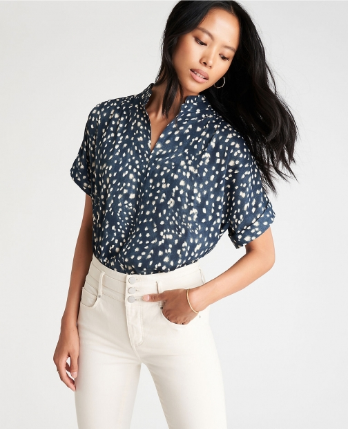 Ann Taylor Petite Spotted Drop Shoulder Popover Top Shirt