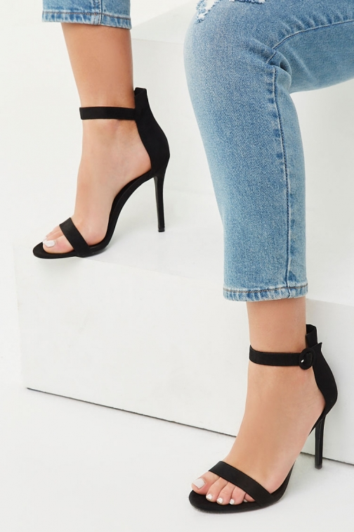 Forever21 Forever 21 Faux Suede Ankle Strap Heels , Black Shoes