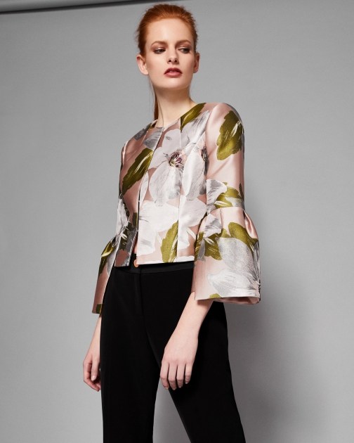 Ted Baker Chatsworth Bloom Cropped Bell Sleeved Jacket
