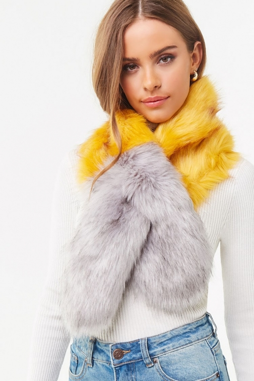 Forever21 Forever 21 Faux Fur Colorblock , Mustard/grey Scarf