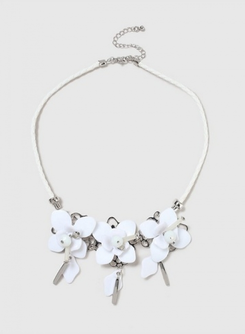 Dorothy Perkins White Flower Drop Collar Necklace