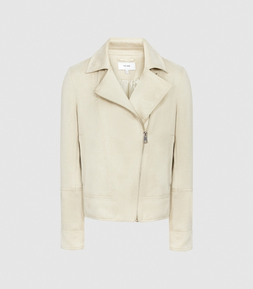 Reiss Sofie - Neutral, Womens, Size 4 Biker Jacket