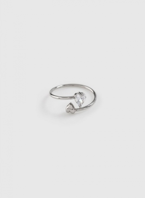 Dorothy Perkins Silver Cubic Zirconia Heart Ring