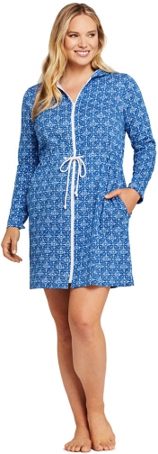 Lands' End Women's Plus Size Cotton Jersey Long Sleeve Hooded Full Zip Swim Cover-up Dress Print - Lands' End - Blue - 1X Swimwear