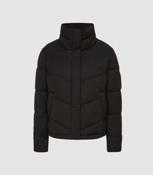 Reiss Dax - Short With Side Zip Black, Womens, Size XS Puffer Jacket