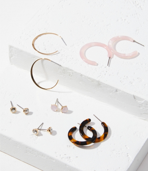 Loft Resin Stud & Hoop Earring Set Jewellery