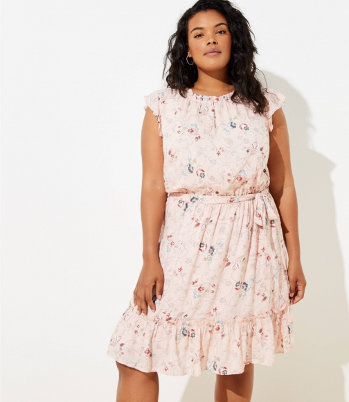 Loft Plus Floral Clip Dot Flounce Dress