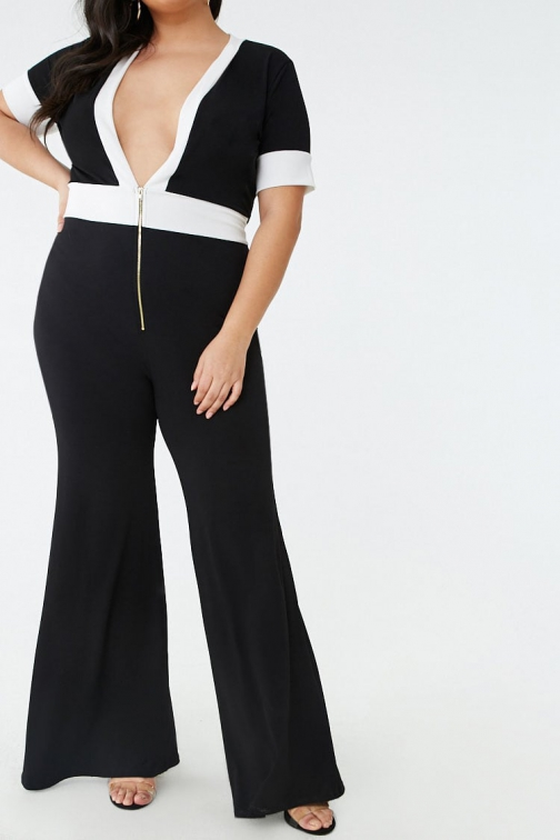 Forever21 Plus Forever 21 Plus Size Plunging Flared-Leg Black/ivory Jumpsuit