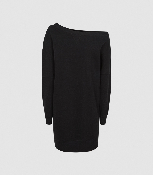 Reiss Portia - Off-the-shoulder Sweatshirt Washed Black, Womens, Size XS Dress