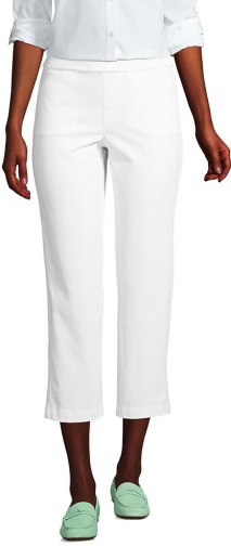 Lands' End Women's Mid Rise Pull On Crop Pants - Lands' End - White - 2 Chino