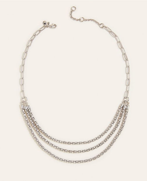 Ann Taylor Triple Strand Pave Wrapped Necklace
