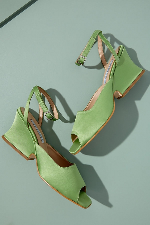 Anthropologie About Arianne Diane Matcha Silk Heels Shoes