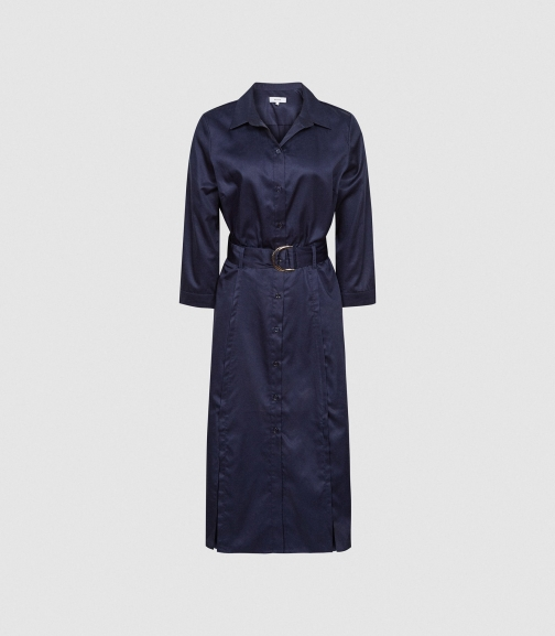 Reiss Romey - Cotton Navy, Womens, Size 4 Shirt Dress