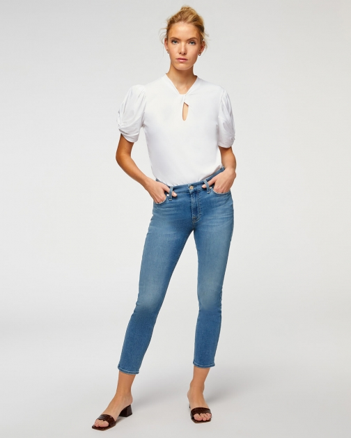 7 For All Mankind Womens B(air) Ankle Skinny Serenity Blue Size: 24 Trouser