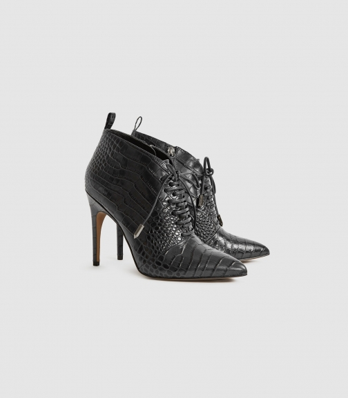 Reiss Aida - Leather Point Toe Lace Up Heels Black, Womens, Size 6 Heeled Sandals