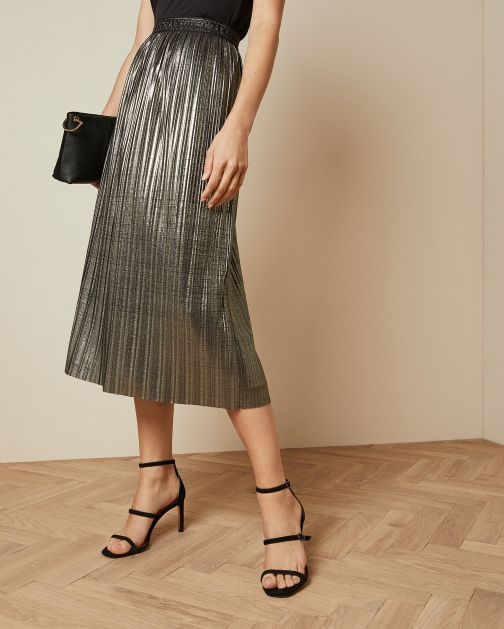 Ted Baker Metallic Pleated Midi Skirt