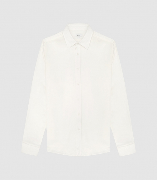Reiss Stone - Satin White, Mens, Size XL Shirt