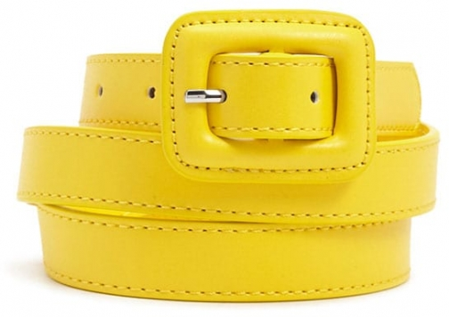 Forever21 Forever 21 Square-Buckle Skinny Hip , Yellow Belt