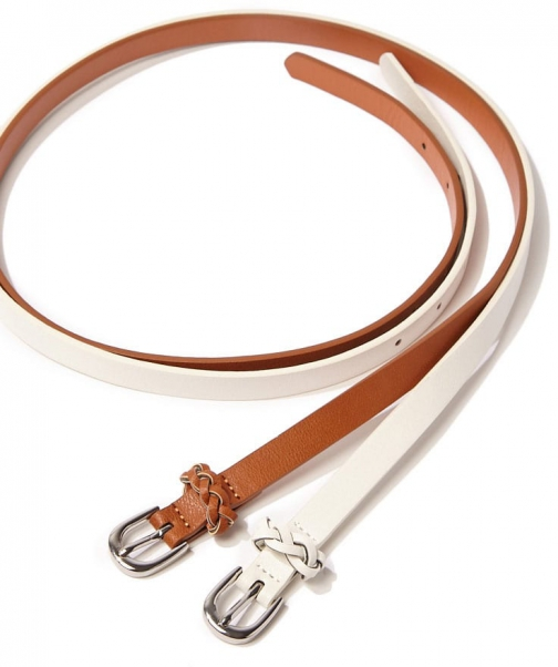 Forever21 Forever 21 Faux Leather Braided-Trim Tan/white Belt